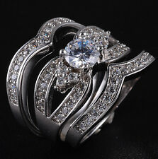 Sz 6-9 Deluxe Ladys 925 Silver Filled White Sapphire Wedding Triple Ring Set