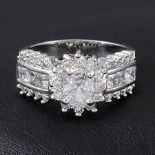 SZ 8-11 Vintage Jewelry White Sapphire 10KT White Gold Filled Wedding Ladys Ring
