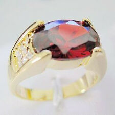 Size 9,10,11 Brand Jewelry 10KT Yellow Gold Filled Garnet Band Ring Mens Gift