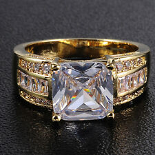 Size 9-13 Deluxe Vintage Jewelry Mens Huge 10KT Gold Filled White Sapphire Ring