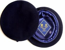 BRITISH ARMY NAVY BLUE OFFICER SILK LINED SMALL CROWN /HOOD BERET REME RLC RE RA