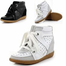 Womens Leather Wedge Ankle Shoes High-Top Velcro Lace-up Double Tongue Sneakers