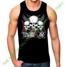 Men's Biker Skull Wings Cross Black Tank Top rider  gang shirt chopper