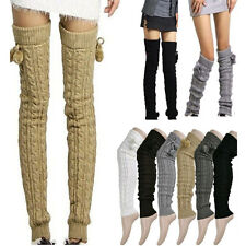 Winter Warm Elegant Long Knit Thick Leg Warmer Over Knee High Hosiery Stocking