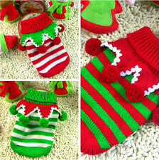 Pet Christmas Sweater Stripe Dog Clothes Puppy Hoodie Clothing for Dogs & Cats