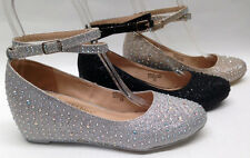 NEW Chase & Chloe Wedge Low Heel PROM WEDDING HOMECOMING GLITTER RHINESTONE shoe