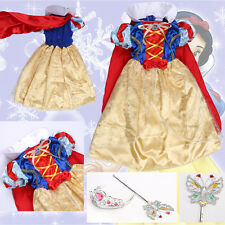 Disney Princess Snow White Fairy Costume Girls Kids Party Fancy Dress with Cape