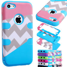 Triple Layer Hybrid High Impact Silicone Rubber Hard Soft Case For iPhone 5C