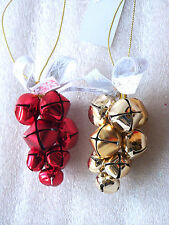 Quality Christmas Jingle Bell Christmas Tree Decorations hangers Silver or Gold