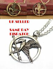 The Hunger Games Necklace Inspired Mockingjay & Arrow Pendant Chain Necklace Uk