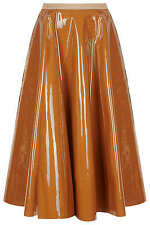 Topshop UNIQUE Runway High Shine Toffee Vinyl Midi Flare Skirt UK 8 36 US 4 NWT