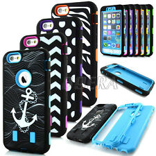 Hybrid Rugged Pattern Soft Rubber Hard PC Combo Case Cover For iPhone 6 6S Plus