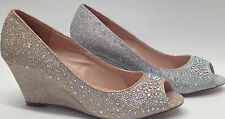 NEW BLOSSOM H3 PROM WEDDING HOMECOMING PARTY 2 in wedge GLITTER peep toe shoes