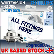 PHILIPS WHITE VISION CAR HEADLIGHT BULBS H1 H3 H4 H7 HB3 (SINGLE & TWIN PACKS)