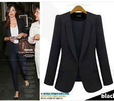 Hot New Women's Color Solid Slim Suit Blazer Coat Jacket Blue Black