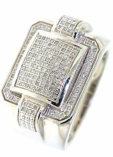 0.75 CTW Men's Halo Micro Pave Diamond White Gold Finish 925 Wedding Pinky Ring