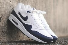 NIKE AIR MAX 1 LTR SUMMIT WHITE MIDNIGHT NAVY GREY LEATHER 654466 101 Limited DS