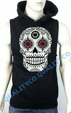 Men's Day Of The Dead Sugar Skull Black Vest Hoodie Sweatshirt Mexican calavera