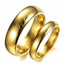 Fashion Lord of the Rings Stainless Steel Men Women Band Ring Gold 17mm-21mm