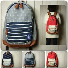New Navy Stripe +Anchor Pattern Backpack Travel Sport Rucksack Satchel Bag N1