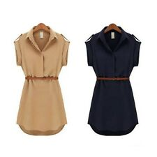 Women Short Sleeve Polo Neck Loose Chiffon Shirt Mini Dress With Belt