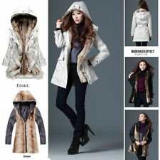Winter Warm Thicken Fluffy Fleece Faux Fur Long Jacket Coat Hood Parka Overcoat