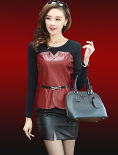 Women's Faux Leather Stitching T-shirt Long Sleeve Casual Go to work Tops Blouse