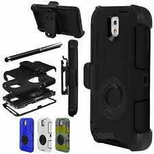 Rugged Hybrid Hard Case Cover + Belt Clip Holster For Samsung Galaxy Note 3 III