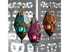 MOROCCAN STYLE COLOURED GLASS HANGING LANTERN - CHOICE OF COLOURS -FAIRLY TRADED