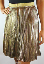 MULBERRY Designer Silk Metallic Gold Pleated Annie Skirt (rrp£495) UK8 10 Party