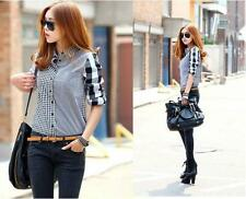 2013 Women Button Down Lapel Shirt Plaids & Checks Flannel Shirts Tops Blouse
