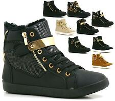 Ladies Girls Hi Top Lace Up Wedge Trainers Heel Ankle Boots Shoes