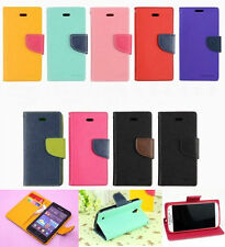 Fashion Dual Color Flip Wallet PU Leather Stand Case TPU Cover For Samsung S7580
