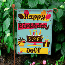 Happy Birthday Personalized Garden Flag Yard Sign Banner - Cake, Balloons, Gifts