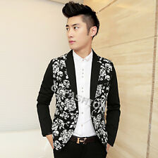 New Stylish Mens Casual Floral Print Slim Fit One Button Suit Blazer Coat Jacket