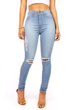 Light Wash Denim High Waist Womens Skinny Jeans Waisted Skinnys Vibrant Cotton