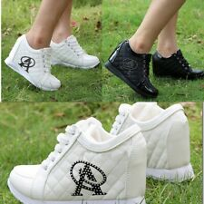 Women High Platform Invisible Heighten Increasing Sneakers PU Shoes 2 Colors