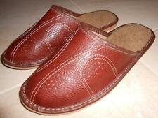 Mens 100% Natural Leather Slippers Shoes Sandal From Poland Brown Sheep Wool
