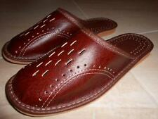 Mens Real Genuine Sheep Leather Slippers Shoes Sandal Handmade From Poland Brown
