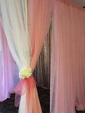 "Pink 116"" wide sheer drape panels for wedding, birthdays, baby shower, girl room"