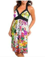 NEW WOMENS MULTI FLORAL PRINT SUN DRESS HALTER SPRING JUNIORS PLUS 1X 2X 3X