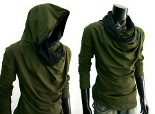 New Men GREEN Cloak long sleeve turtle COWL NECK Hoodie shirt top S M L XL XXL