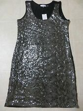 Calvin Klein Womens Sequin Embellished Sleeveless Black Tank Dress Sz S L NWT