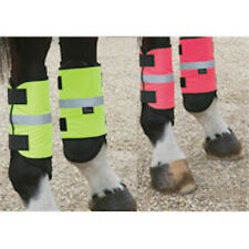 Hi Viz Reflective Horse Pony Leg Boots Wraps Yellow or Pink Safety Equestrian