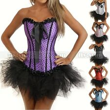 Satin Party Burlesque Corset & tutu /skirt Fancy Dress Halloween Cosplay Costume