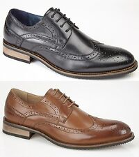 Mens Brogue Black Brown Leather Lined Smart Office Slip On  Casual Smart Shoes