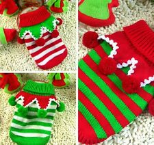 Pet Dog Puppy Winter Clothes Ball Turtleneck Striped Knit Jumper Sweater Xmas