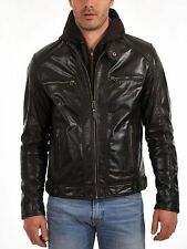 NEW 100% GENUINE MEN'S SOFT LAMBSKIN LEATHER BOMBER BIKER JACKET MJ2013