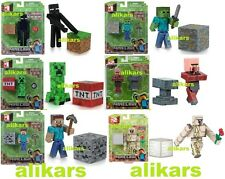 "Minecraft ZOMBIE IRON GOLEM ENDERMAN STEVE CREEPER VILLAGER 3"" Overworld Figures"