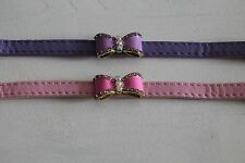 Dog or cat standard leather collar collar with bow tie glitter